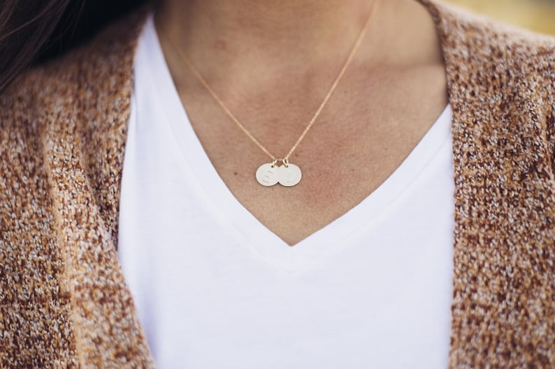 14kt Gold filled Initial Necklace Gold Necklace Double 12 in Personalized Initial necklace Hand stamped Gold Letter Necklace