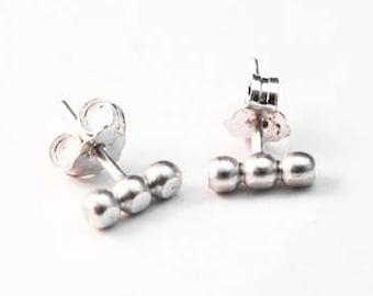 Stud earrings, oxidized sterling silver, 3mm beaded wire earrings, handmade ear studs, post earrings, bubble wire studs