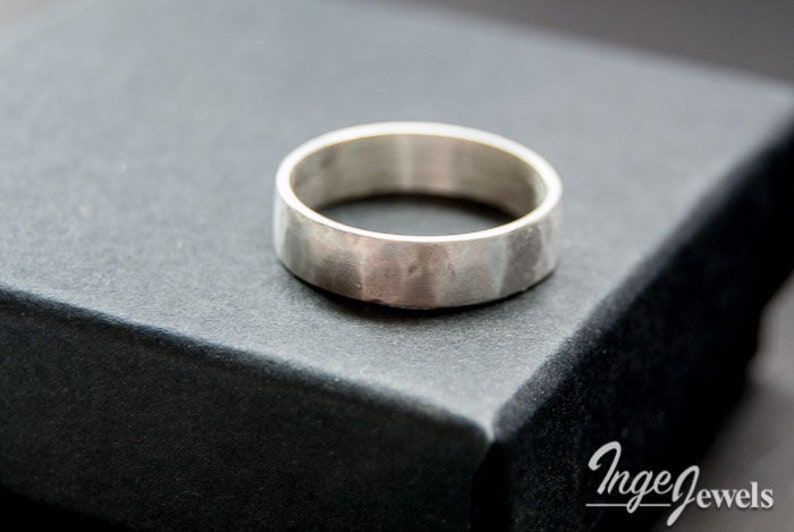 friendship ring Sterling silver hammered band ring oxidized ring 4mm x 1mm band ring