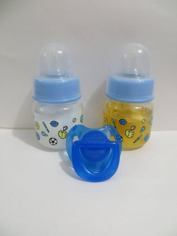 Two Sealed 2oz Reborn Baby Formula /& Apple Juice Bottles w//NO HOLE NIPPLES!