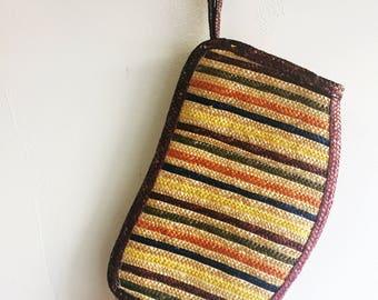 Vintage Striped Straw Clutch