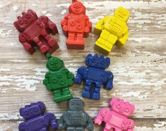 10 Robots  Crayons - Space Alien Adventure Birthday Party Favors - Galaxy - Outer Space - Robot Party