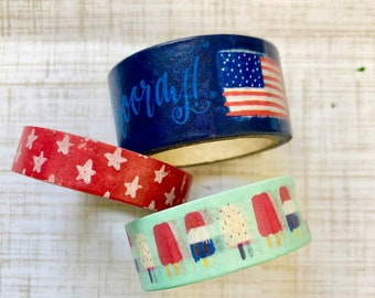 4b61d2be78f1 Flag Stars and Popsicles Paper Washi Tape Scrapbooking Decorative Masking  Tape Planner Supplies Memorial USA America USA Patriotic Summer