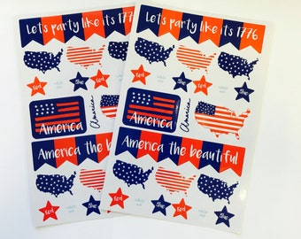 e555ed15c199 2 Sheets Patriotic 4th Of July Stickers - Planner - Invites - Envelope  Seals - Scrapbooking - USA - Red - White - Blue