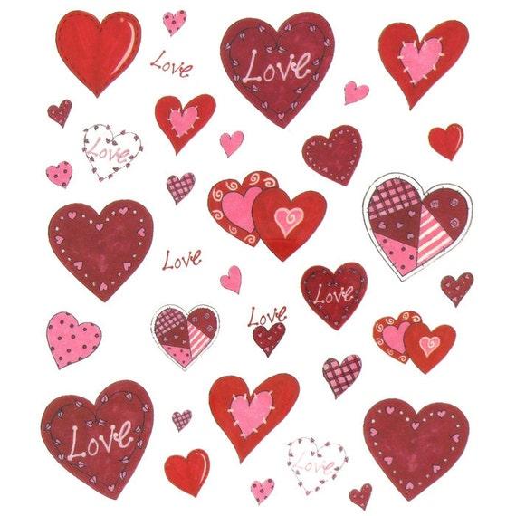 Patchwork Heart Stickers Planner Supplies Invites Etsy