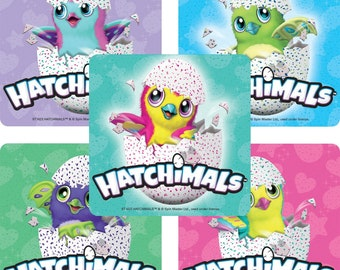 Hatchimals labels etsy 50 hatchimals stickers kids birthday party supplies party favors kids craft supplies negle Image collections