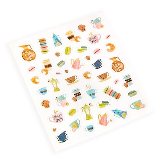 Get Coffee Mini Stickers 94 Stickers Scrapbooking Donuts Etsy