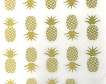 Gold Foil Pineapple  Stickers - Planner - Invites - Envelope Seals - Scrapbooking