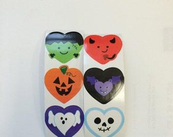 FREE SHIPPING - 50 Happy Halloween Faces  Stickers Party Favors Envelope Seals - Bat - Pumpkin - Devil - Ghost - Skull - Frankenstein