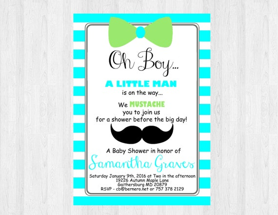 Oh boy baby shower invitation mustache and bow tie little etsy image 0 filmwisefo
