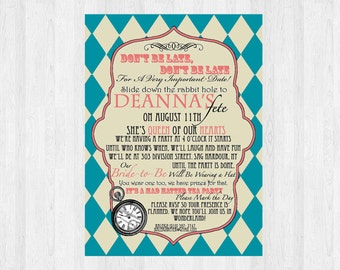 Mad hatter bridal shower invitation mad hatter tea party mad hatter bridal shower invitation bridal shower mad hatter tea party alice in wonderland invitation printable for wedding filmwisefo