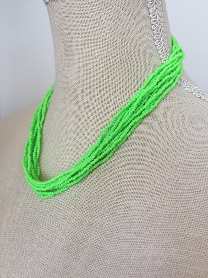 boho chic jewelry,layering necklace,modern necklace,seed beaded jewelry,gift for her Neon green,beaded necklace,multistrand necklace
