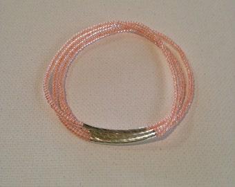 Coral pink, curved bar, seed beaded bracelets, stretchy bracelets,gift for her,dainty, stacking bracelets....Set of 3...Size 7