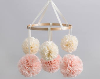 Crib Arm Mobile, Nursery Mobile, Baby Mobile, Crib Mobile, Hanging Pom Poms, Nursery Decor, Pom Pom Mobile, Rose Gold Nursery