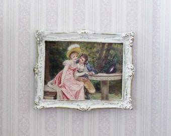 MADE IN AMERICA FRAMED Miniature Art LADY IN THE RAIN Dollhouse Picture