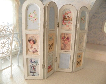 miniature dollhouse room divider screen 1/12 scale