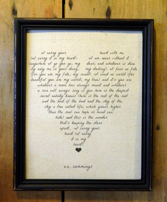 I Carry Your Heart EE Cummings Love Poem Wedding Gift | Etsy