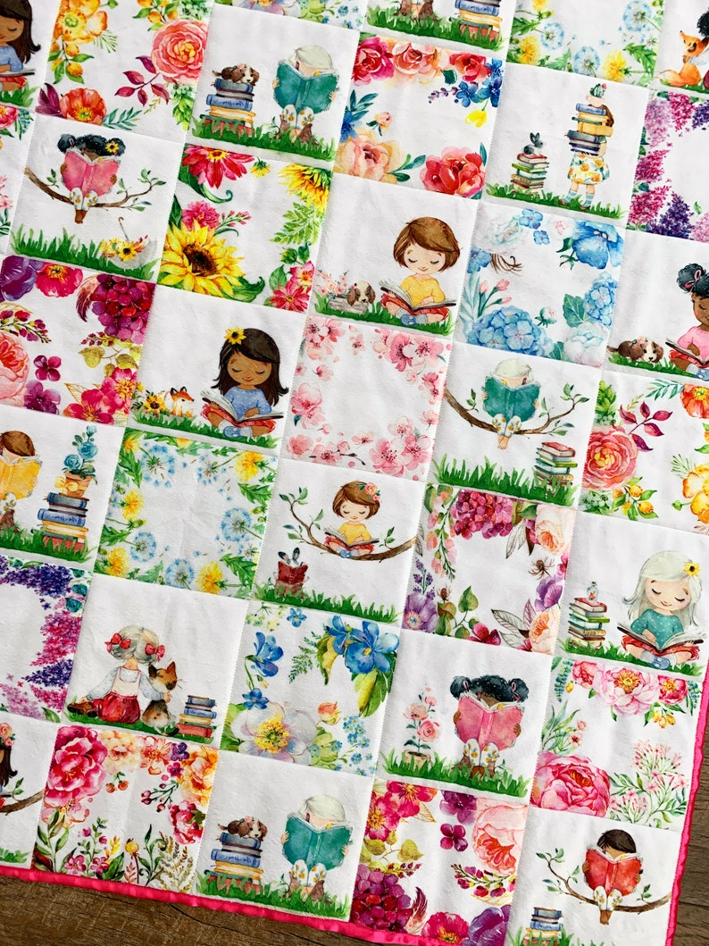 Girls and Books Baby Quilt Baby Girl Floral Nursery Girls image 0