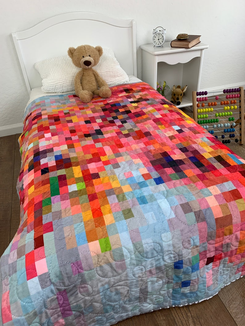 READY TO SHIP: Modern Mosaic Baby Quilt Rainbow Baby Blanket image 0