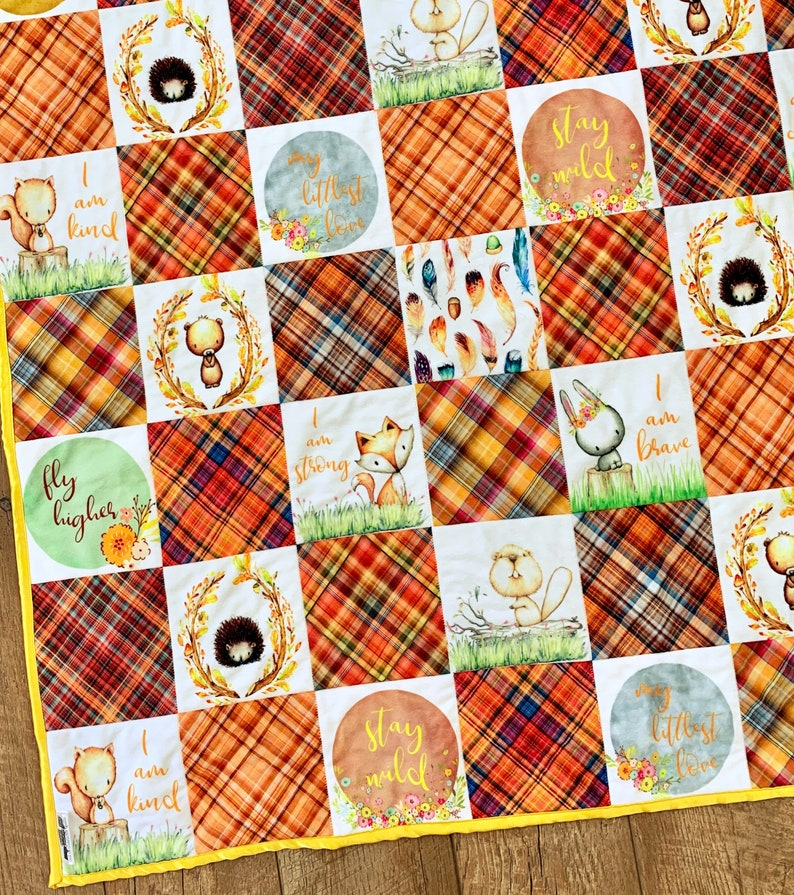 Woodland Baby Quilt Personalized Baby Blanket Gender Neutral image 0