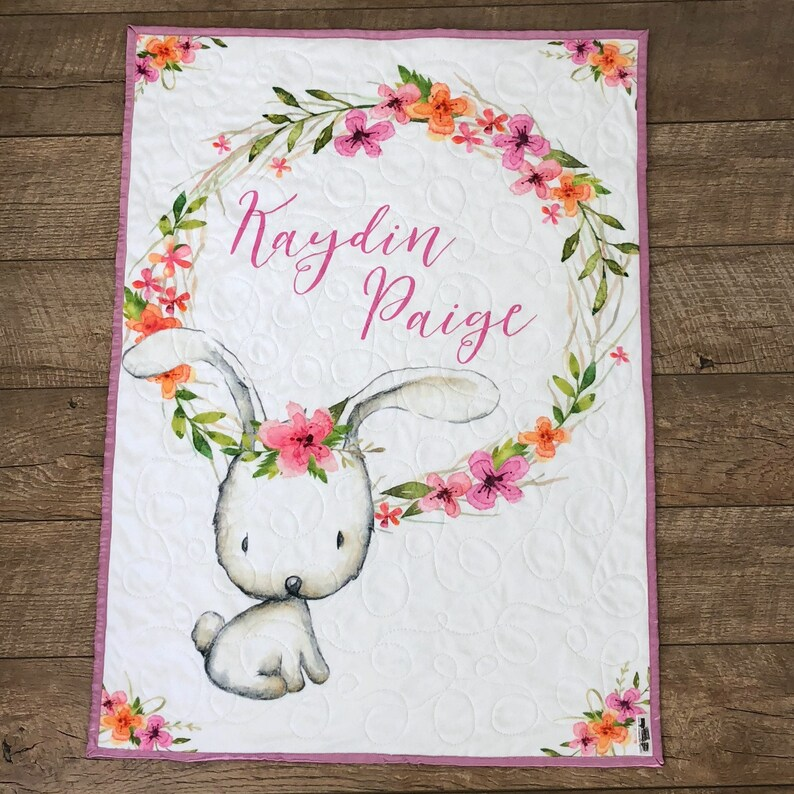 Bunny Baby Quilt Personalized Bunny Crib Quilt Bunny Toddler image 0