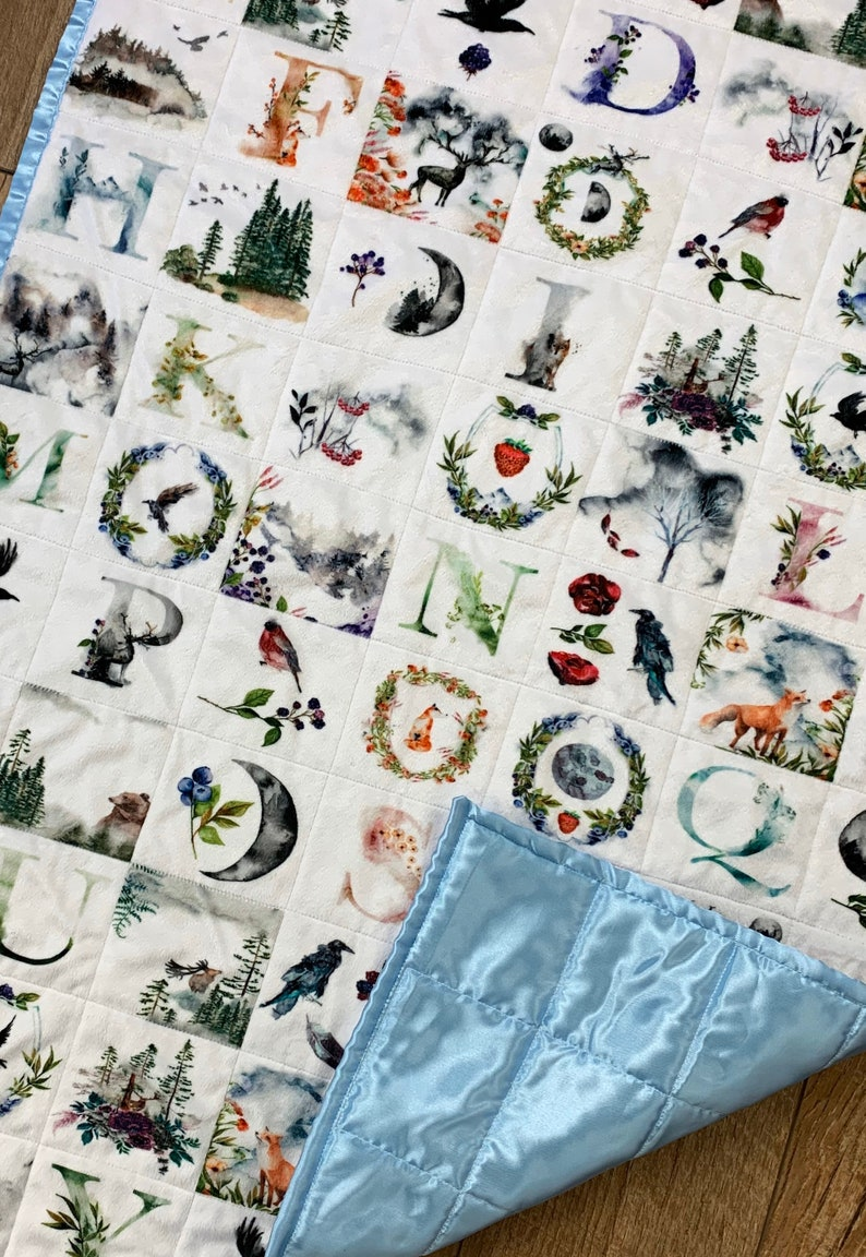 READY TO SHIP: Enchanted Forest Baby Quilt   Goth Baby Quilt image 0