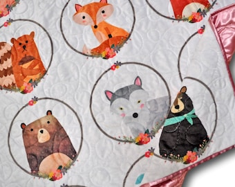 Woodland Baby Quilt, Animal Baby Quilt, Woodland Blanket, Woodland Quilt, Woodland Nursery, Woodland Animals Baby Quilt, Woodland Baby