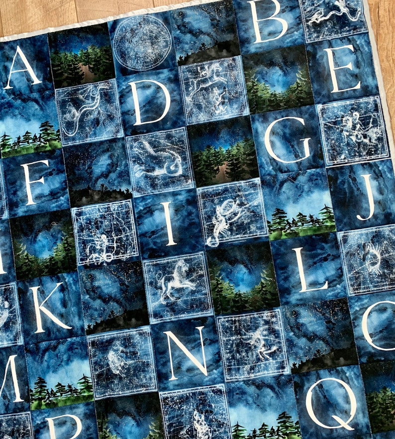 Starry Night Baby Quilt Enchanted Forest Nursery image 0