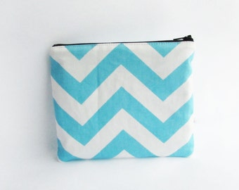 Personalized Zipper Pouch with Embroidery - Girly Blue Monogrammed Makeup bag - Bridesmaid clutches- Small
