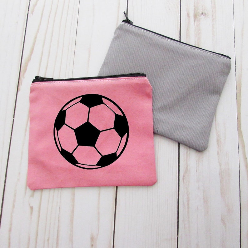 Change Purse CPSoccer Small Credit Card Wallet Small Make up Bag Soccer Coin Purse Zip Money Bag Soccer Team Gift