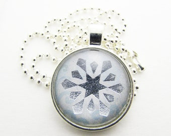 Pendant Necklace - Metallic Snowflake Necklace - Personalized Necklace - Hand Stamped Letter Necklace