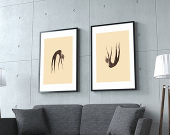 Rising or Falling - Original Painting Drawing Print, Home Decor, Wall Art, Wall Decor, Hand Painted Art Print, Home Decoration, UNUSUAL