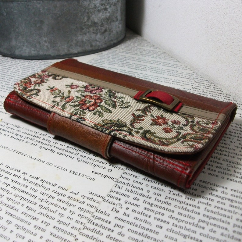 Trifold Unique Floral Handmade Personalized Wallet Clutch Wallet Vegan Leather Wallet Vegan Friendly