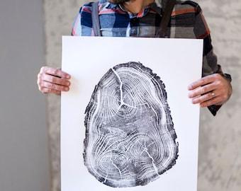 Locust Tree, Tree Anatomy, Botanical tree print, real tree stump art, Black Locust Tree, woodcut print, Tree stump print, Tree ring wall art