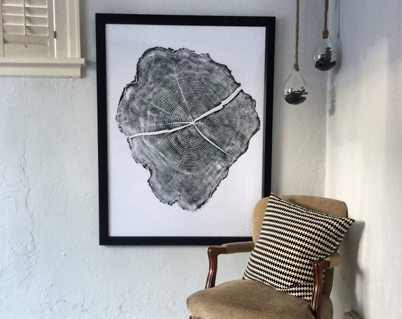 Huge tree ring art, Tree ring prints, Locust tree ring print, Boho wall art, Woodcut art, hand pressed print, 36x48, by Erik Linton