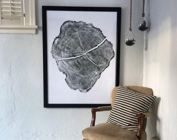 Huge tree ring art, Tree ring prints, Locust tree ring print, Boho wall art, Woodcut art, hand pressed print, 36x48, by Erik Linton