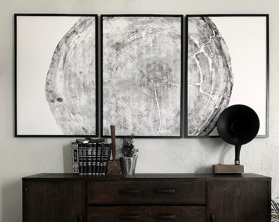 Sitka Spruce Triptych, Huge Tree Ring Print, 372 year old tree, Set of three 24x36 inch prints, hand printed woodblock print, By Erik Linton