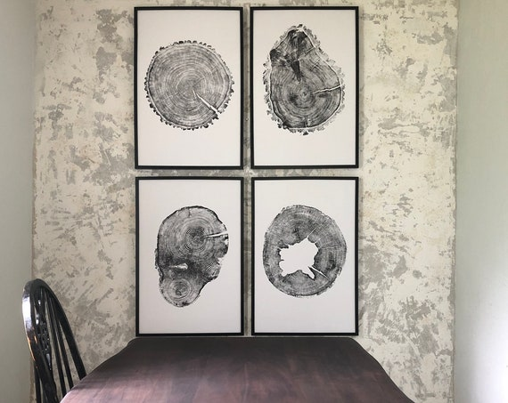 Tree Stump Art Prints, Set of Four Large 24x36 inch Tree Ring Prints, Tree ring prints from Utah, Minnesota, Iowa, and Washington
