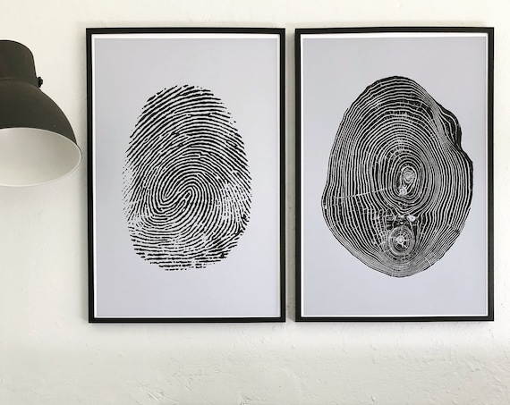 Tree ring prints, fingerprint art, set of two large prints, Tree art print, tree slice art, nature lover art, meditation art, boho wall art