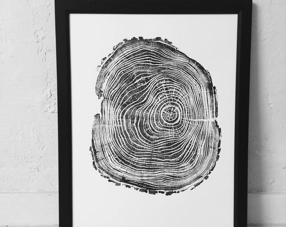 Tree Trunk Art, Black Locust Tree, Real tree stump, tree ring art print, Woodcut print, Gift Ideas for Dads, Father's Day Gifts, Fathers Day