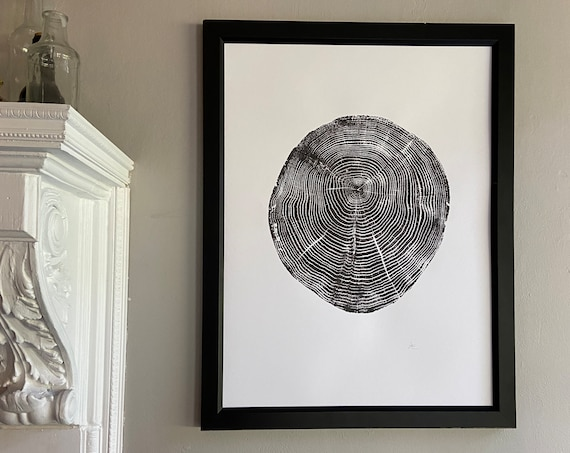 Long Island, NY, Oak tree art, Oak tree ring print, Tree stump art print, Original Woodcut, Woodblock print, Linton Art