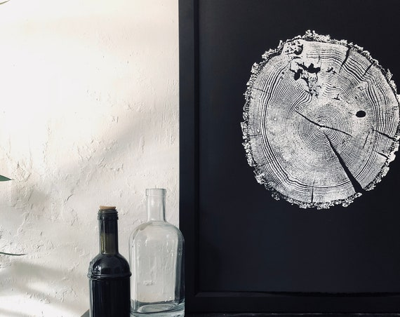 Ozark Mountains Print, Ozark Mountains art, Tree slice art, 18x24 inch print, Tree ring art print, original and pressed by Erik Linton