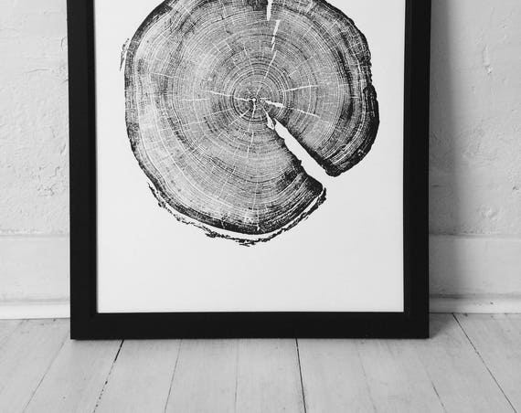 183 year old Tree, Tree ring art print, Woodcut print, Uinta Forest art, Real Tree Stump Art, Christmas prints, tree lover art, Arborist art