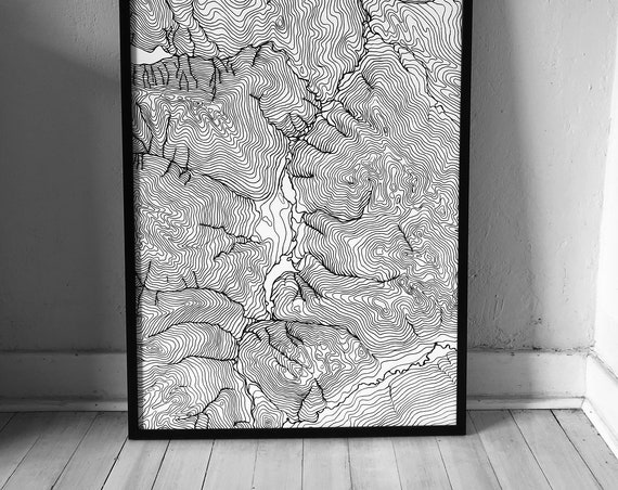 Map of Whistler British Columbia, Canadian Rockies, Topographical map, Hand drawn topography by Erik Linton, Map wall art, Map art print