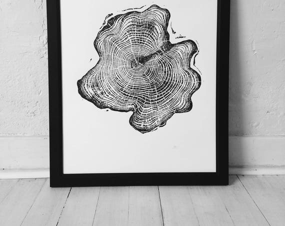 Alaskan Cedar Tree, Tree ring art print, Woodcut art, Tree ring Art Print, Alaska lover gift, Woodcut print, woodblock, Alaska art gift