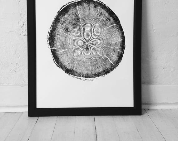 Big Cottonwood Canyon, Tree Ring Print, Woodcut, Utah Art, Botanical Print, Father's Day Art, arborist art gift, Dendrology, Hand pressed