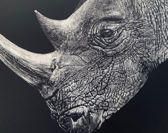 Etching of a Rhino, 18x24 inch giclee print, Rhino art, Etching by Erik Linton