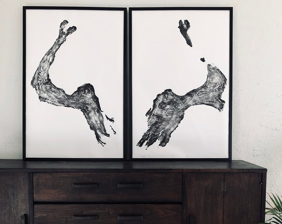 Illinois Tree Roots, Set of Two 24x36 inch prints, Rorschach Test Art, Inkblot test art, Tree ring art print, handmade from real roots