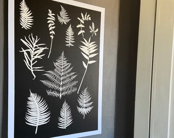 Fern wall art, hand pressed botanicals from ferns and leaves, Black botanical monoprint, 24x36 inch botanicals, Fern wall art, collage