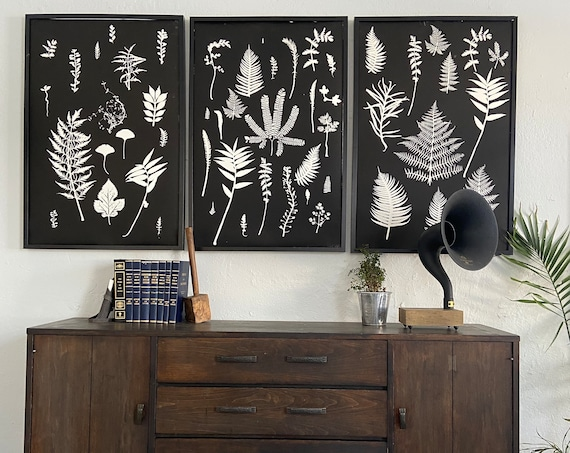 Set of 3 huge botanicals, each panel 24x36 inches, hand pressed botanicals from ferns and leaves, Black botanical monoprints, botanical art